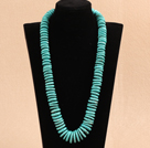 Single Strand Disc Shape Blue Turquoise Graduated Nekcklace with Moonlight Clasp under $ 40