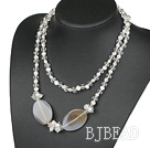 39.4 inches long style sparkly white pearl crystal and agate necklace