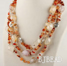 gorgeous three strand natural agate necklace with magnetic clasp
