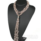 vogue jewelry 31.5 inches Y shape rose quartze and pearl tassel necklace