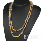 Assorted Yellow Freshwater Pearl and Critine Long Style Necklace
