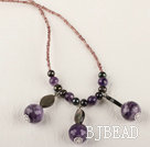 amethyst pearl and lampwork beads necklace with lobster clasp