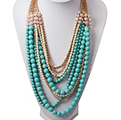 Multi Layer Fashion Style Turquoise and White Pearl Necklace with Metal Chain under $ 40