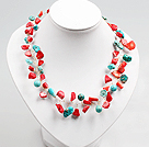 Red Coral and Turquoise Beads Crochet Wire Necklace