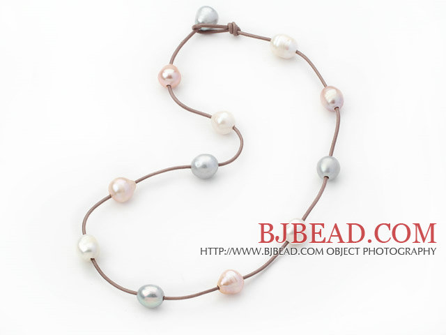 Single Strand 11-12mm White Gray and Pink Freshwater Pearl Necklace with Brown Leather