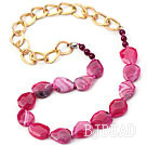 Pink Red Color Burst Pattern Crystallized Agate Knotted Necklace with Golden Color Metal Chain ( The Chain Can Be Deducted )