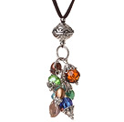 Summer Design Simple Style Button Pearl and Faceted Crystal Pendant Necklace with Brown Leather and Extandable Chain