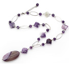 23.6 inches natural amethyst agate Y necklace with extendable chain