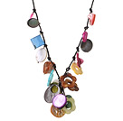 Summer Cute Design Multi Color Seashell Pendant Necklace with Black Leather under $ 40