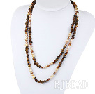 Assorted Freshwater Pearl and Tigey Eye Long Style Necklace