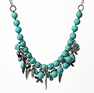 Turquoise Necklace with Tibet Silver Accessories and Metal Chain