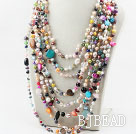 Diverse Multi Strands Multi Color Pearl Shell en Multi Stone Ketting