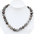 14mm fantastic agate beaded necklace