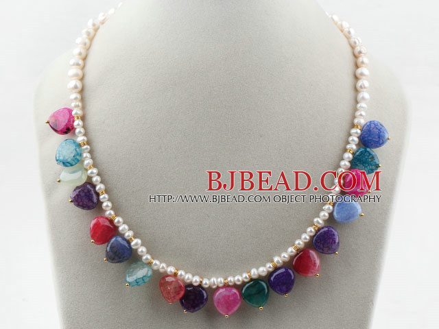 Assorted White Freshwater Pearl and Heart Shape Multi Color Agate Necklace