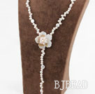 White Freshwater Pearl and White Shell Flower Y Shape Necklace