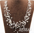 Multi Layer White Freshwater Pearl Bridal Necklace under $ 40