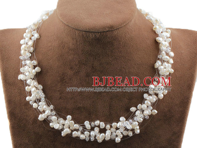 Multi Strands White Freshwater Pearl Crystal Bridal Necklace