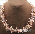 Multi Strands Natural Pink Freshwater Pearl Crystal Bridal Necklace