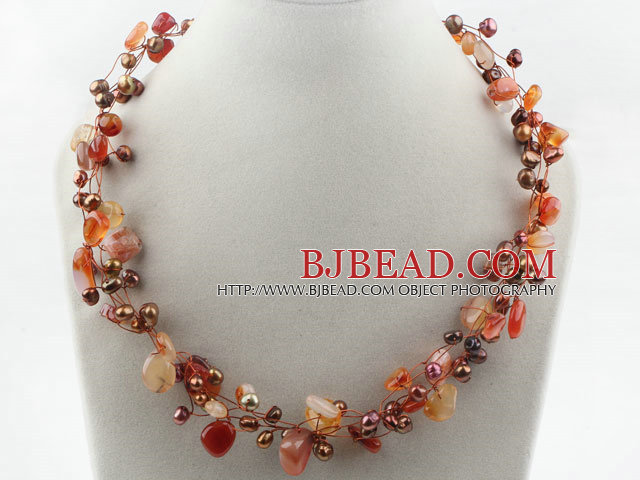 Brown Freshwater Pearl and Natural Color Agate Necklace