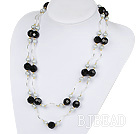 Long Style Faceted Black Crystal and Gray Shell Beads Necklace
