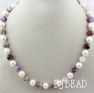 Freshwater Pearl White e Viola Collana cristallo al quarzo Beaded