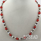 White Shell and Red Carnelian Necklace with Adjustable Chain