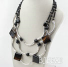 Three Strands Assorted Black Agate Necklace