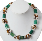 White Pearl Crystal and Cylinder Shape Green Agate Necklace