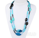 51.2 inches long style peaceful blue agate turquoise and crystal necklace