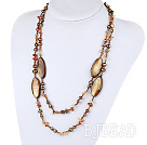 47.2 inches long style brown pearl shell and agate necklace
