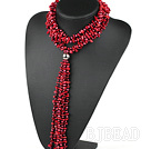 vogue jewelry 31.5 inches Y shape red coral and pearl necklace