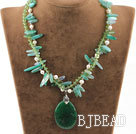 double strand white pearl rutilated green agate crystal necklace