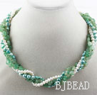 Multi Strand Freshwater Pearl and Aventurine Necklace with Moonlight Clasp under $30