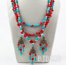 New Design Three Strands Red Coral and Turquoise Necklace