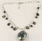 bold metal chain abalone pendant necklace with extendable chain