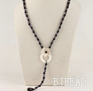 Y shape 19.7 inches crystal black agate necklace with white shell flower