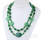 47.2 inches long style peaceful green agate and crystal necklace under $30
