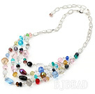 multi strand colorful crystal necklace with extendable chain