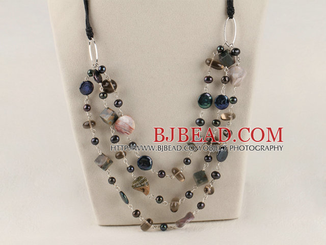 multi strand black pearl and India agate necklace with extendable chain