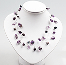 Amethyst and Pearl Beads Crochet Wire Necklace