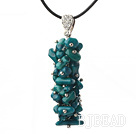 Simple Style Peacock Green Coral Pendant Necklace with Black Thread under $ 40