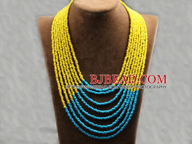 Multi Strands Multi Layered 4-5mm Yellow and Blue Plastic Seed Necklace