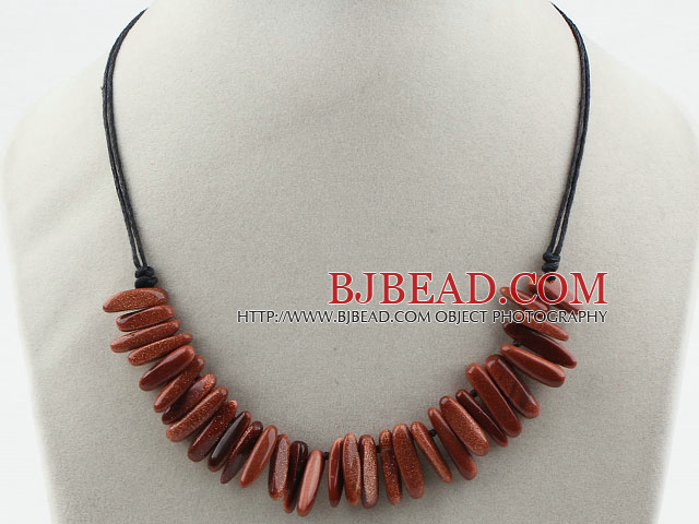 Simple Style Long Teeth Shape Gold Sandstone Necklace with Black Thread