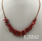 Simple Style Long Teeth Shape Red Jasper Necklace with Brown Thread under $ 40