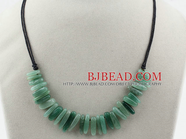 Simple Style Long Teeth Shape Aventurine Necklace with Black Thread