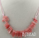 Simple Style Long Teeth Shape Chreey Quartz Necklace with Pink Thread