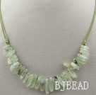 Simple Style Long Teeth Shape Green Rutilated Quartz Necklace with Green Thread under $ 40