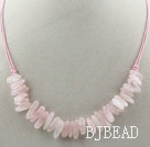 Simple Style Long Teeth Shape Rose Quartz Necklace with Pink Thread
