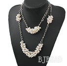 Two Layer Natural White Freshwater Pearl Necklace with Metal Chain