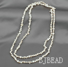 41 inches 3-4mm white pearl long style necklace
